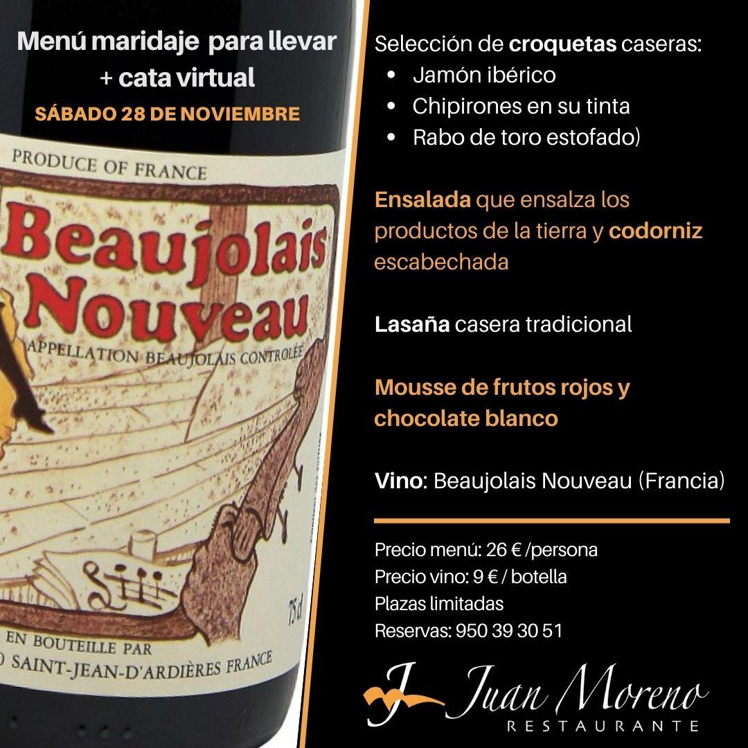 Menú maridaje Beaujolais Nouveau… para disfrutar en tu casa